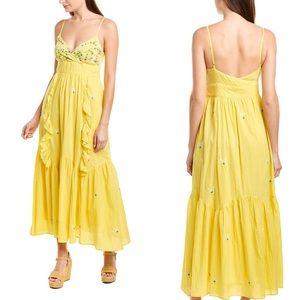 NWT Banjanan Swiss Dot Sunflower Maxi Dress xs